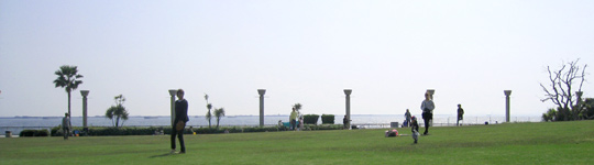 海辺にある芝生の広場